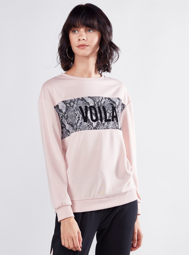 Animal Printed Sweatshirt with Round Neck and Long Sleeves