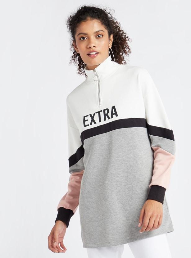Colour Block Print Regular Fit High Neck Longline Sweatshirt with Zip Closure