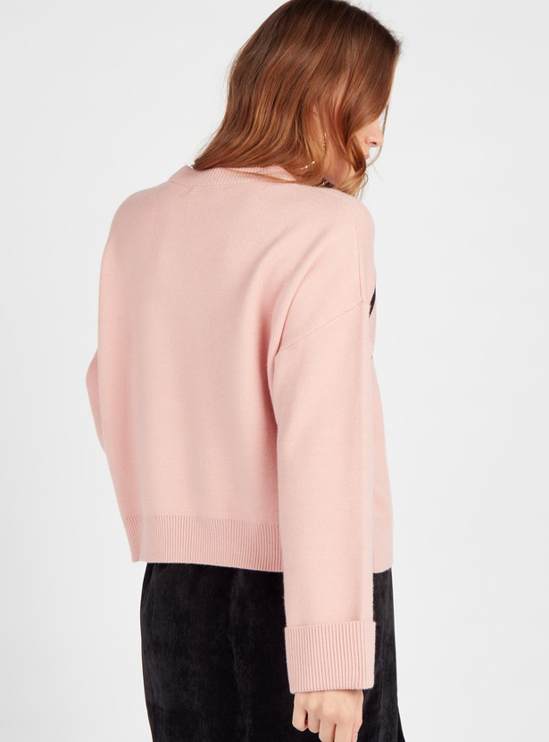 Printed Boxy Sweater with Round Neck and Long Sleeves