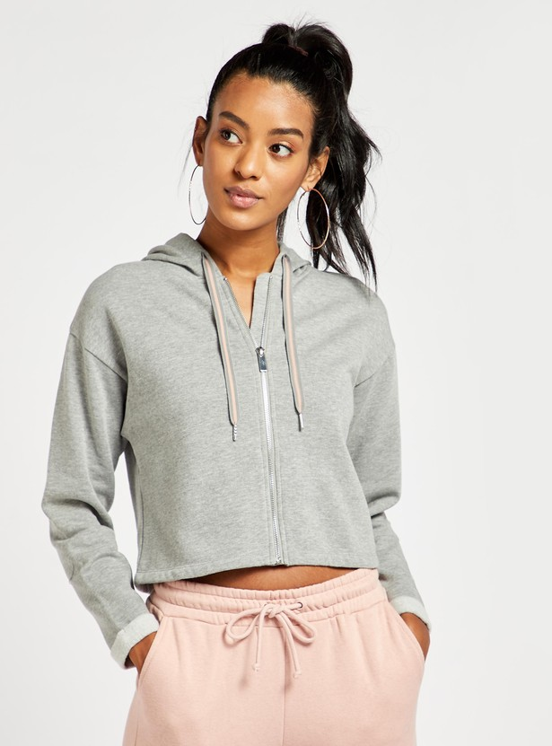 Solid Cropped Hoodie with Long Sleeves and Zip Closure