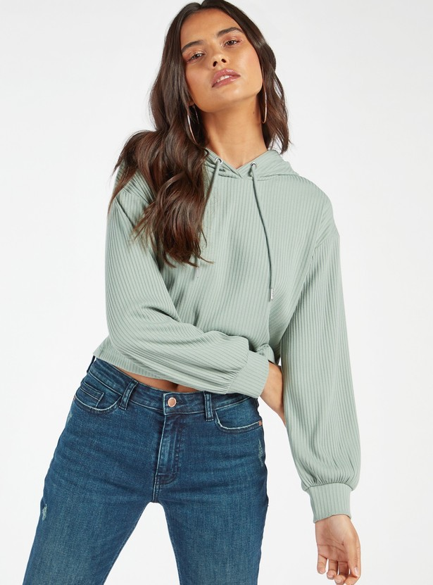 Ribbed Cropped Hoodie with Long Sleeves