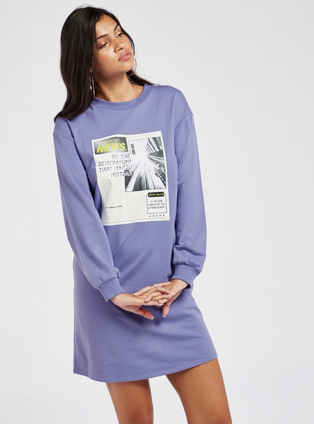 Graphic Print Mini T-shirt Dress with Long Sleeves