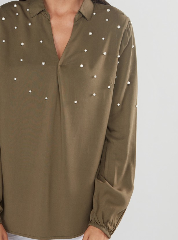 Pearl Detail Top with Long Sleeves and High Low Hem