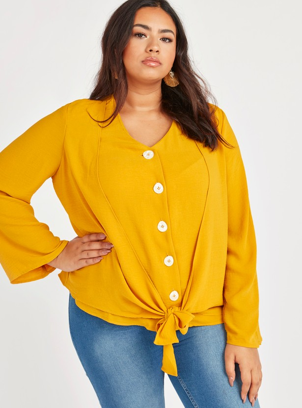 Solid Front Knot Top with V-neck and Long Sleeves