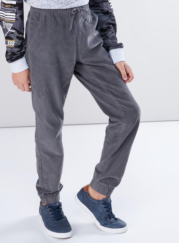 Textured Jog Pants with Drawstring and Pocket Detail