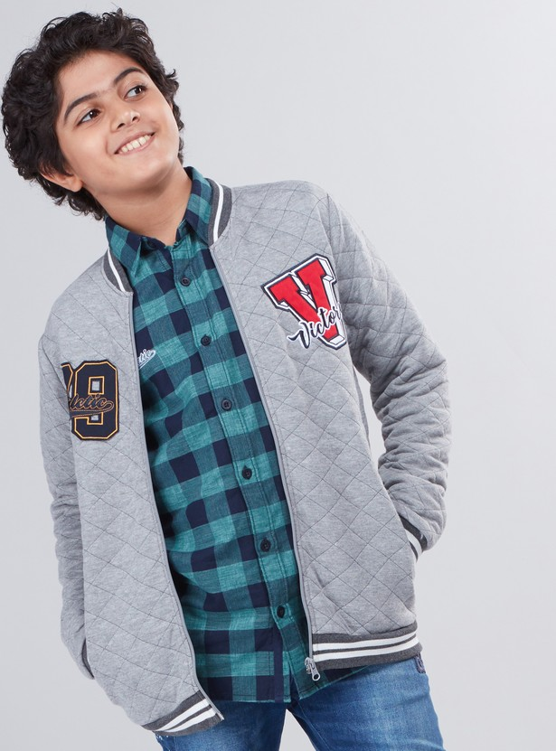 Quilted Bomber Jacket with Pocket Detail and Zip Closure