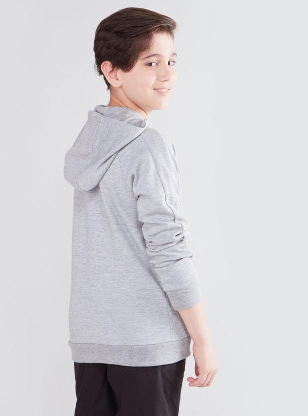 Embossed Sweatshirt with Raglan Sleeves and Hood