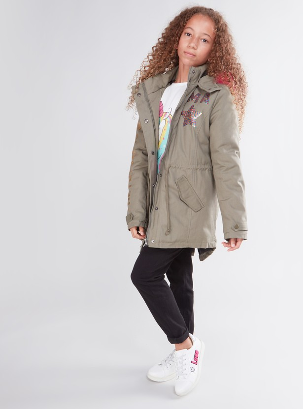 Printed Long Sleeves Parka  Jacket with Button Placket and Hood