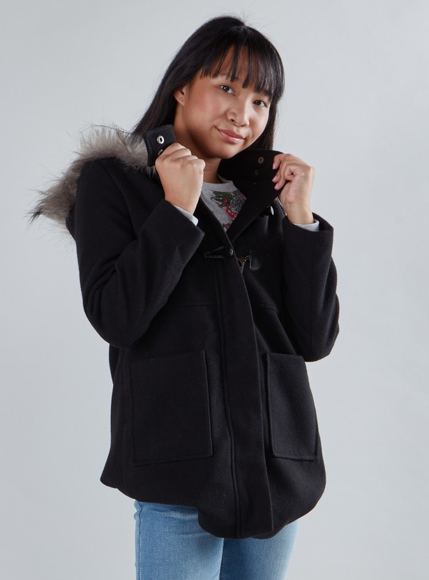 Hooded Duffle Jacket with Long Sleeves