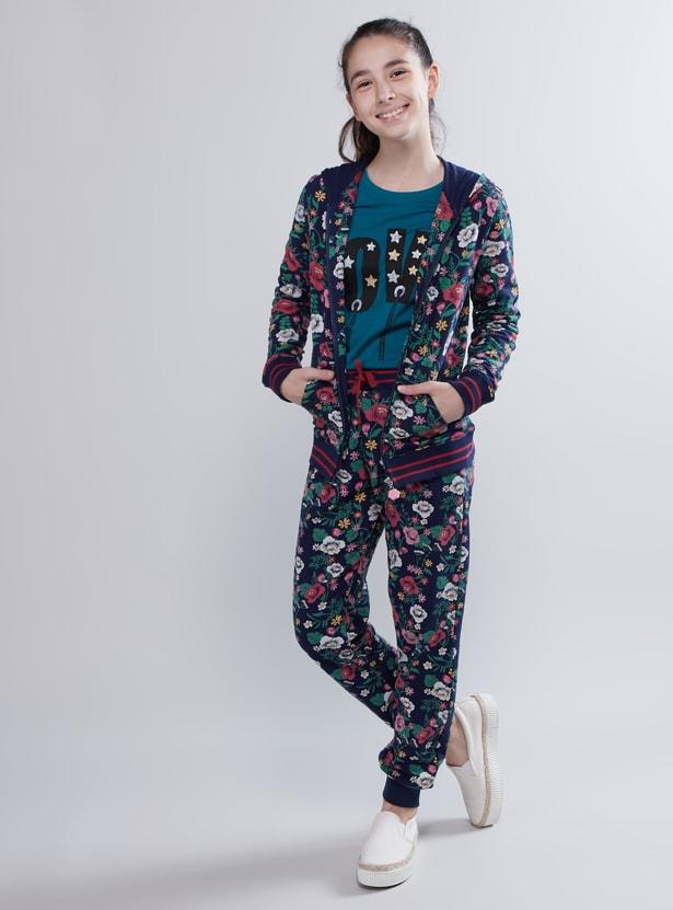 Full Length Floral Printed Jog Pants with Pocket Detail and Drawstring