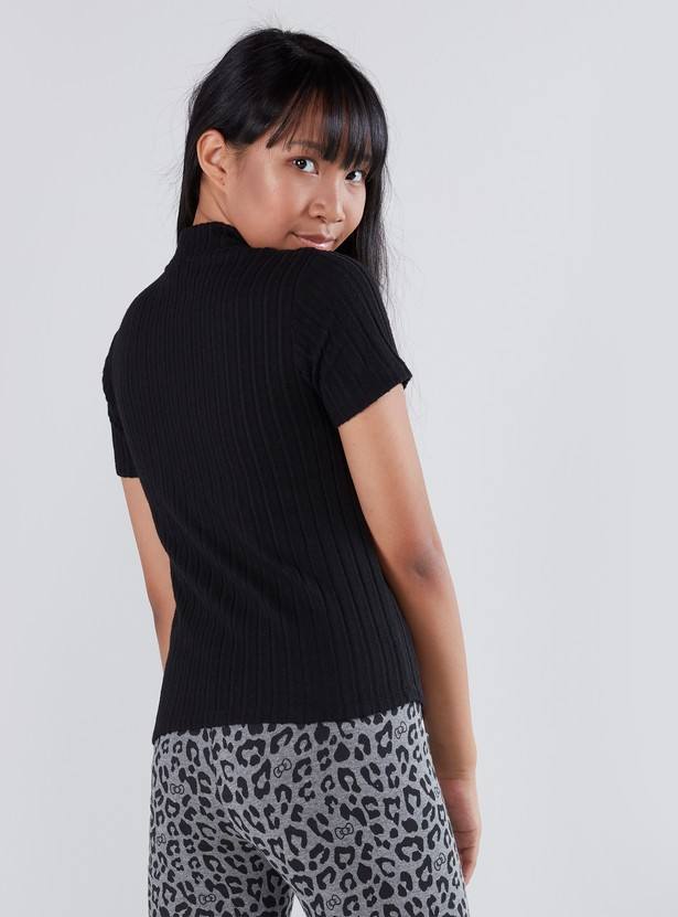 Sequin Detail T-shirt with High Neck and Short Sleeves