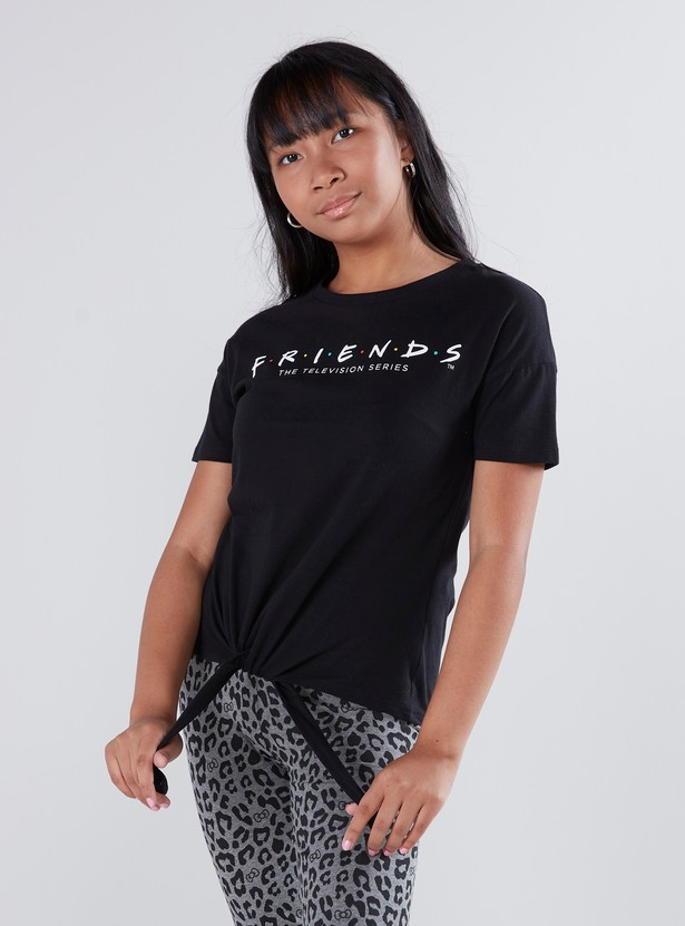 Printed T-shirt with Short Sleeves and Tie Ups