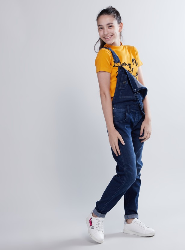 Denim Dungarees with Pocket Detail and Adjustable Straps