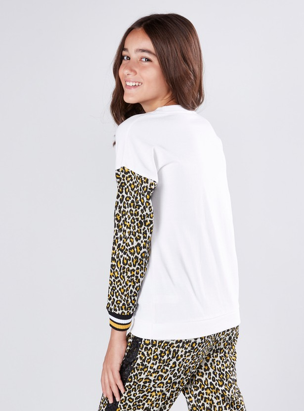 Sequin Detail Sweat Top with Round Neck and Long Sleeves