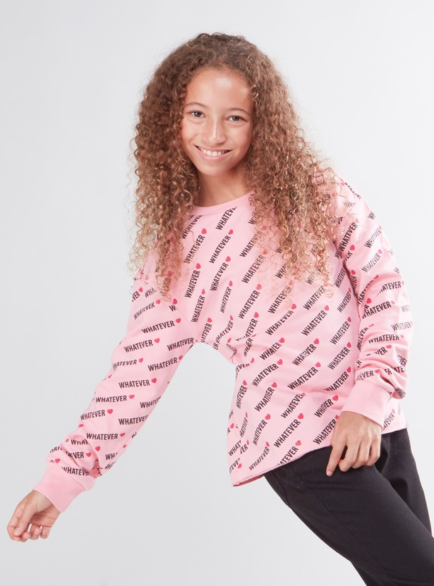Printed Sweat Top with Round Neck and Long Sleeves