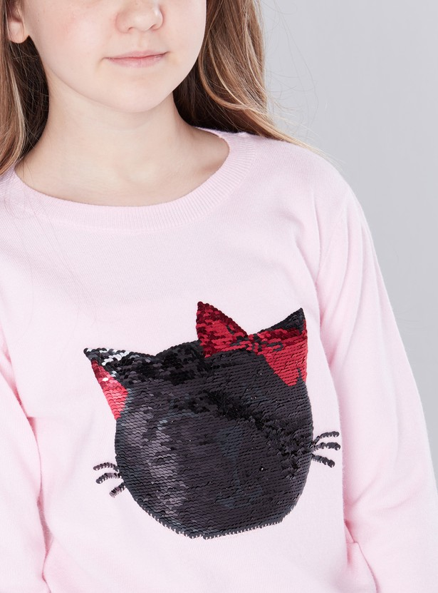 Embellished Round Neck Jumper with Long Sleeves