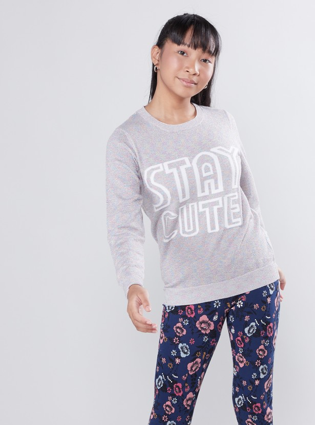 Printed Sweater with Round Neck and Long Sleeves