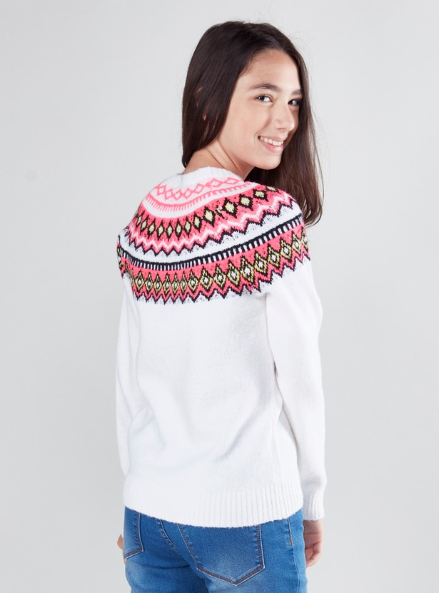 Textured Sweater with Round Neck and Long Sleeves