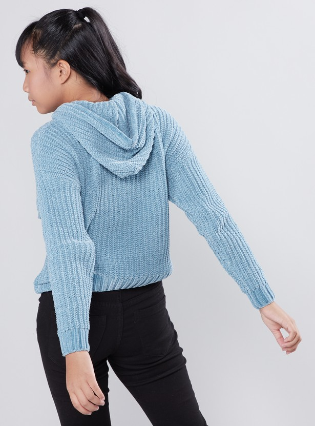 Textured Sweater with Long Sleeves and Hood