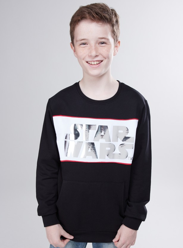 Star Wars Printed Sweatshirt with Round Neck and Long Sleeves