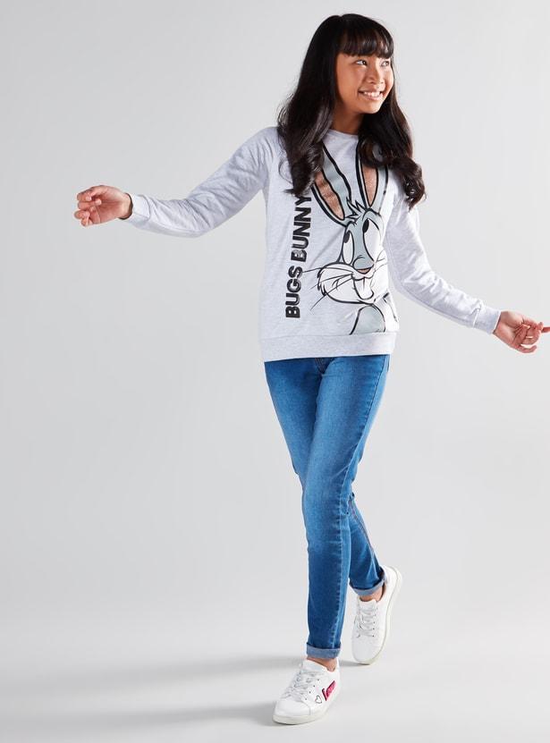 Bugs Bunny Printed Sweatshirt with Long Sleeves