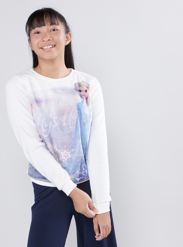 Frozen Printed Sweat Top with Round Neck and Long Sleeves