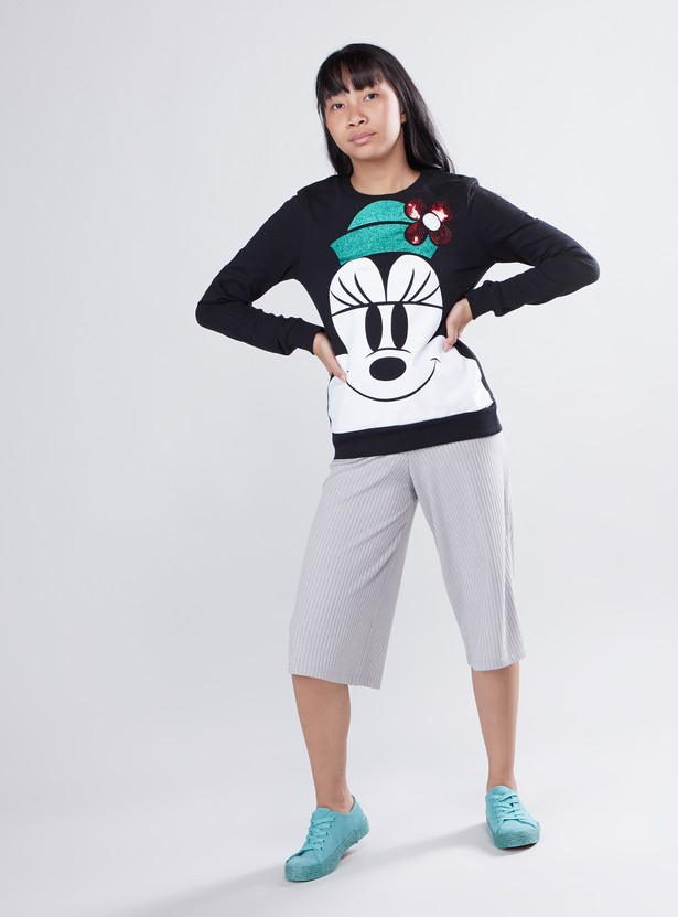 Minnie Mouse Printed Sweat Top with Long Sleeves