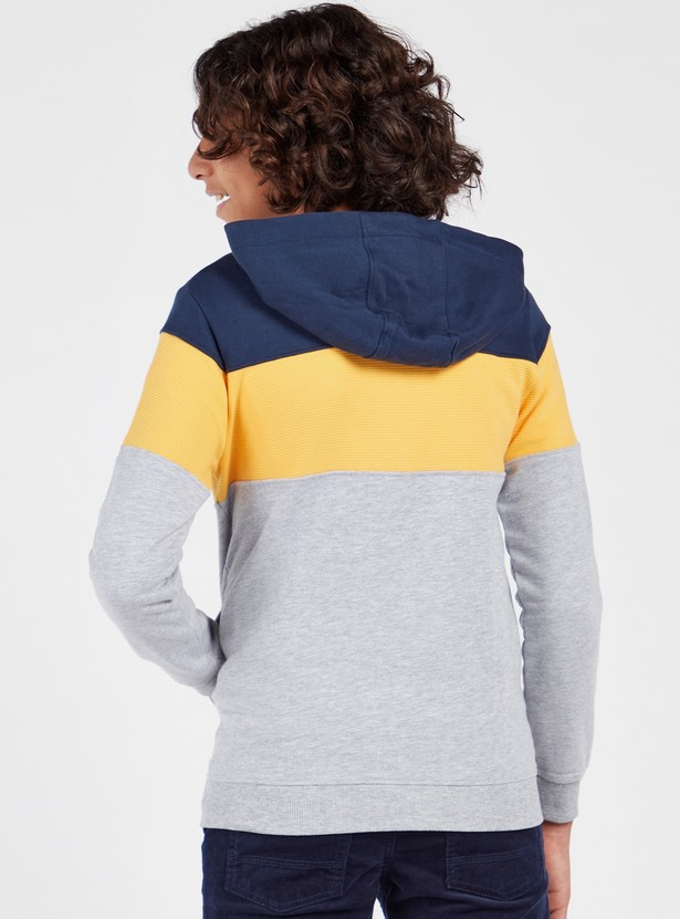 Panelled Long Sleeves Jacket with Hooded Neck and Zip Closure
