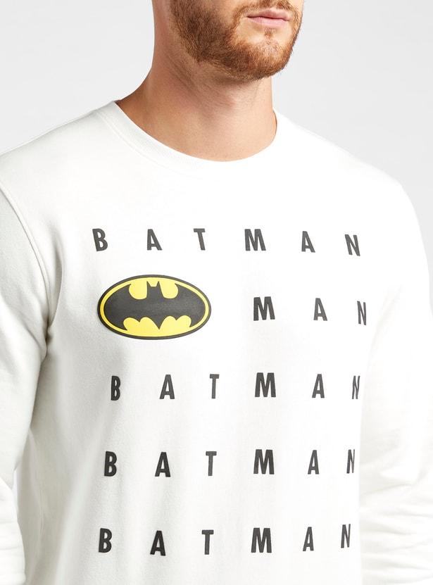 سويت شيرت بياقة ضيقة وأكمام طويلة وطبعات باتمان جرافيك