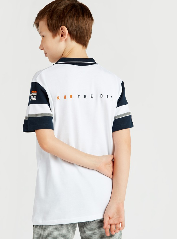 Printed Polo T-shirt with Collar and Zip Pocket