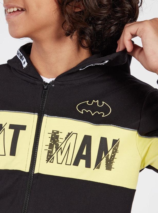 جاكيت بقبّعة وأكمام طويلة وسحّاب إغلاق وطبعات باتمان