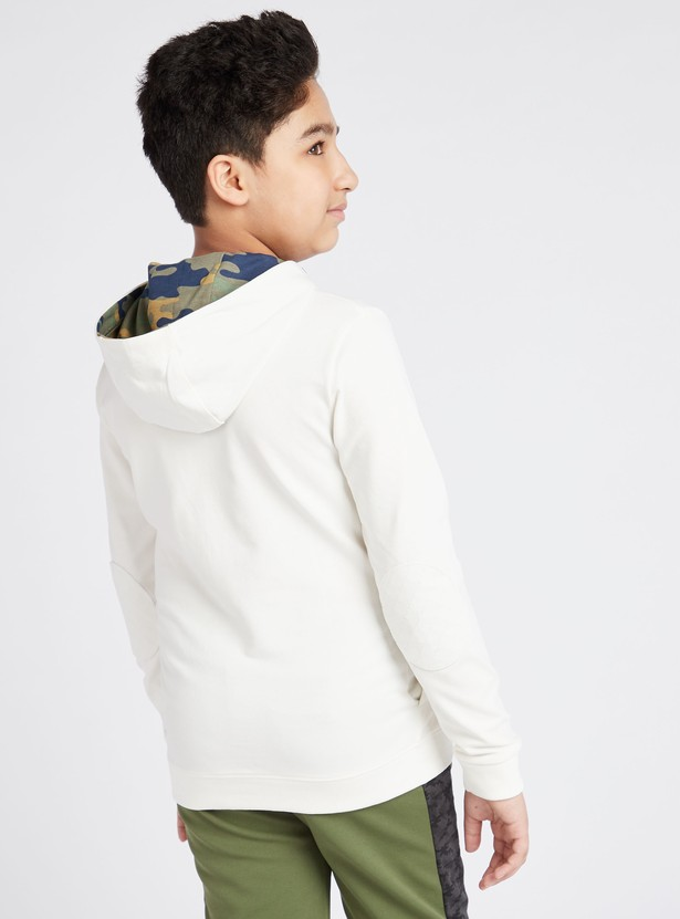 Typographic Print Hoodie with Long Sleeves and Embroidery Detail