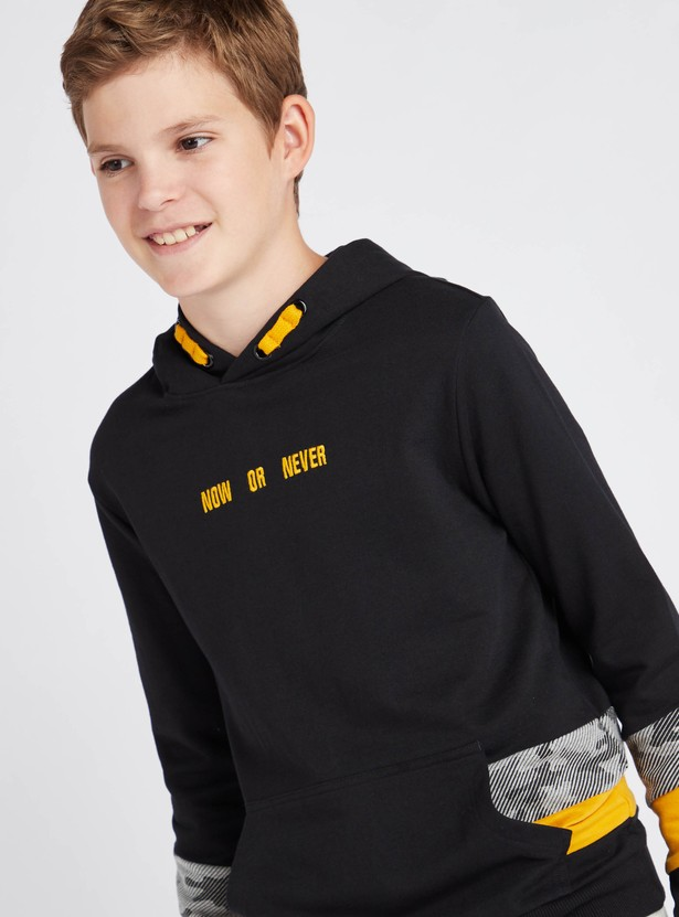 Printed Sweat Top with Hooded Neck and Long Sleeves