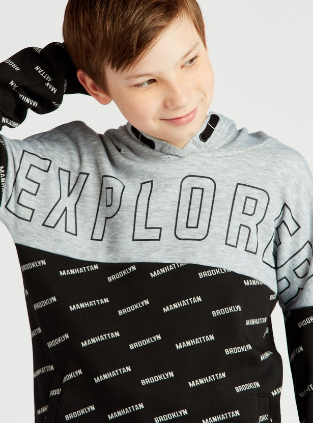 Slogan Print Hoodie with Long Sleeves and Pockets