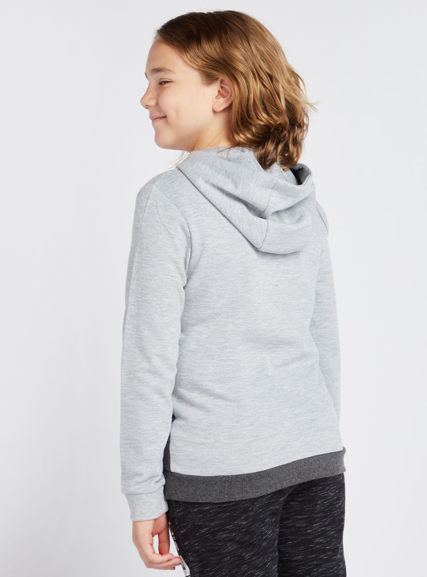 Typographic Print Colour Blocked Hoodie with Long Sleeves