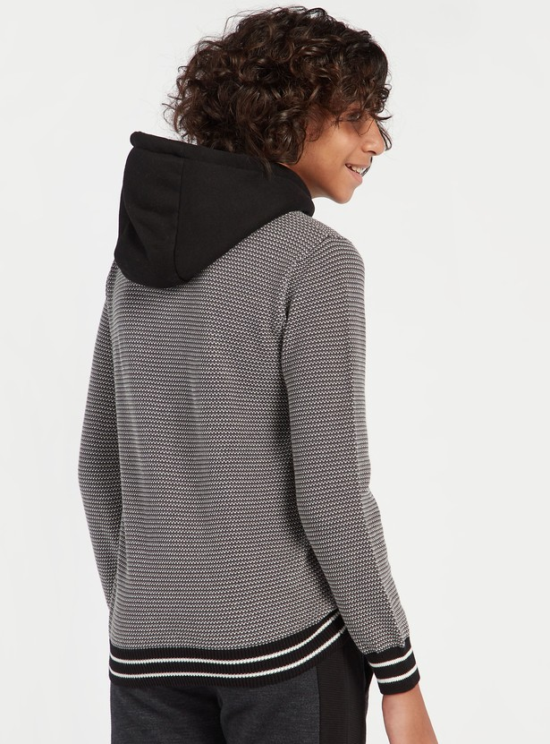 Textured Sweater with Hood and Applique Detail