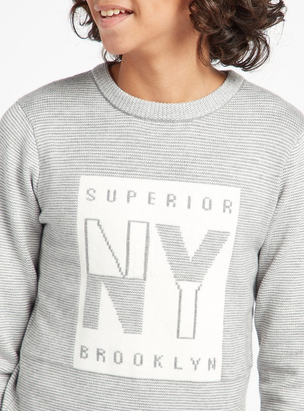Printed Round Neck Pullover with Long Sleeves