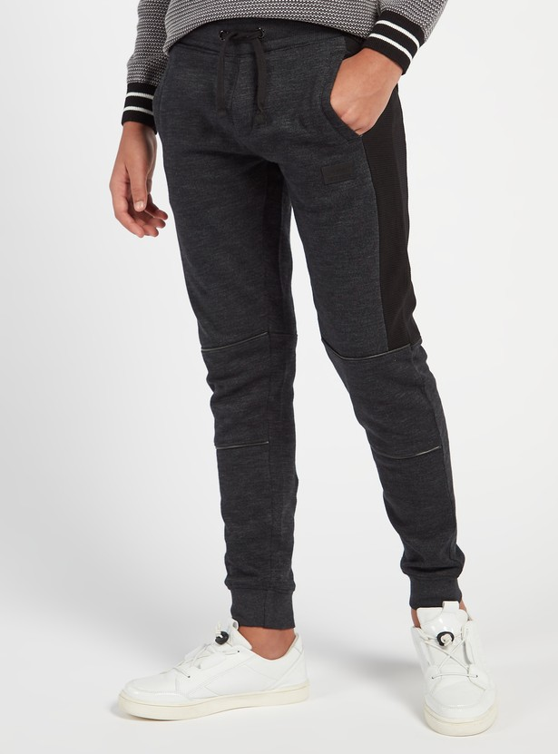 Panelled Full Length Joggers with Drawstring Closure and Pockets