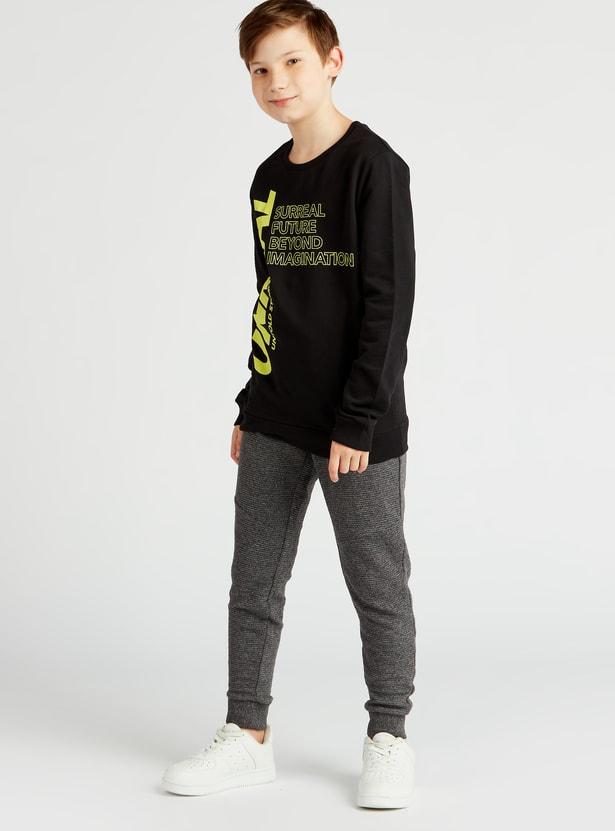 Typographic Print Round Neck Sweatshirt with Long Sleeves