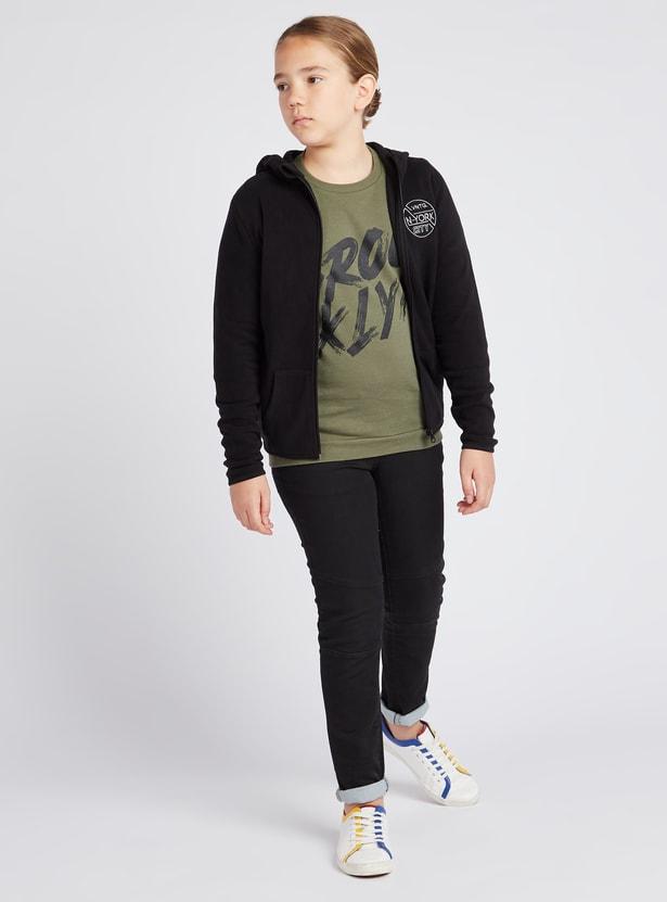 Printed Crew Neck Sweatshirt with Long Sleeves