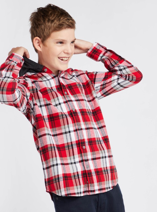Plaid Shirt with Hooded Neck and Long Sleeves