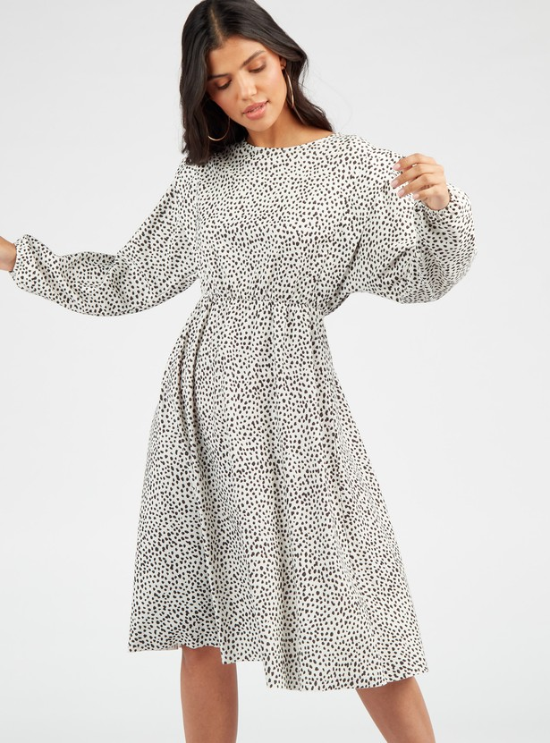 Scatter Dots Print Midi A-line Dress with Round Neck