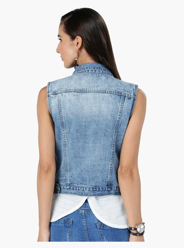 Sleeveless Denim Jacket with Pocket Detail