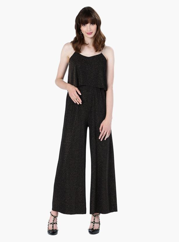 Textured Sleeveless Jumpsuit