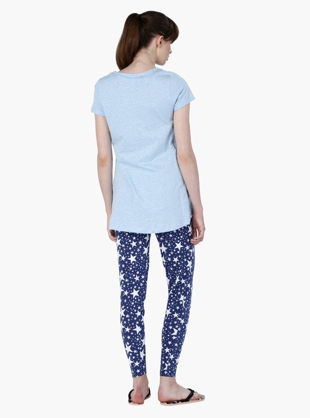 Printed Round Neck Pyjama Set
