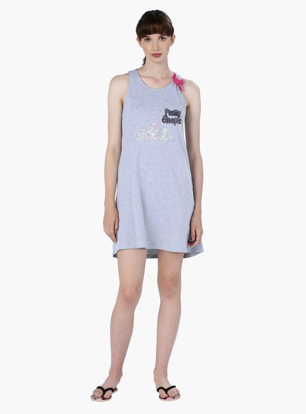 Printed Sleep Dress with Eye Hole Closure