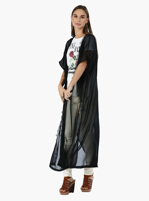 Open Front Long Shrug with Lace Trims