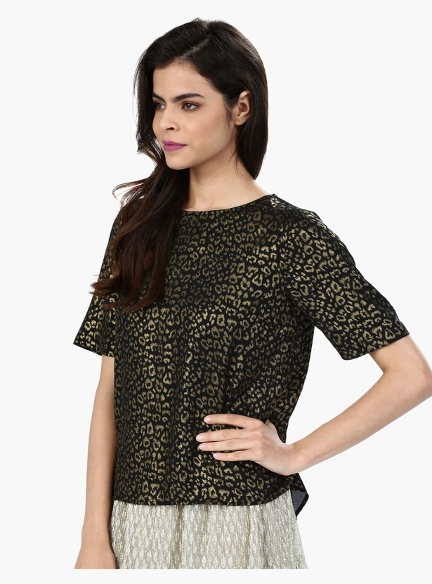 Printed Round Neck Top with Short Sleeves