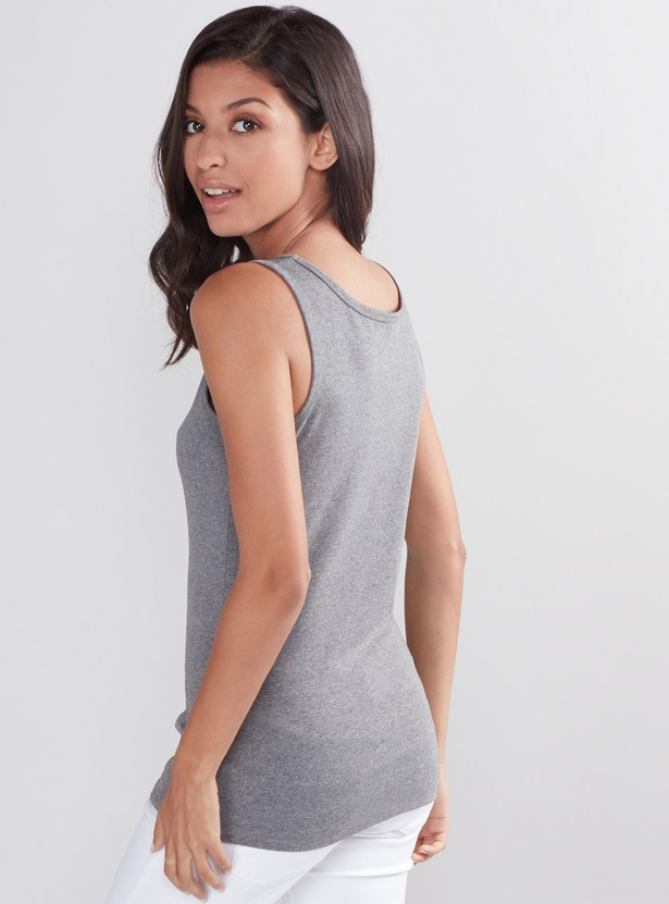Ribbed Sleeveless Vest with Scoop Neck
