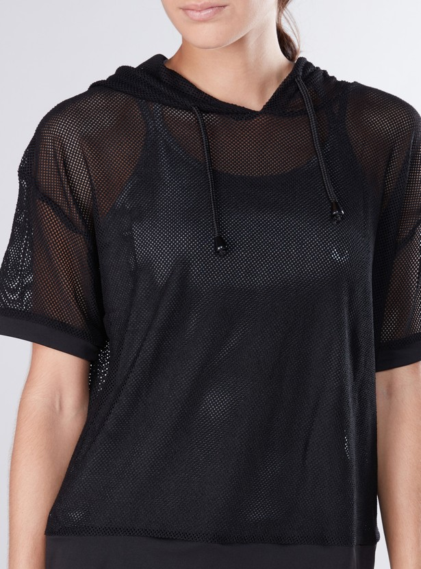 Mesh Top with Short Sleeves and Hood